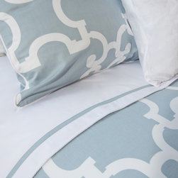 Crane & Canopy - Blue Noe Duvet Cover-Queen/Full-Signature - Combining modern simplicity with classic patterning, our Dusk Blue Noe duvet emits a personality of sophistication and refinement.
