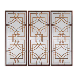 Bassett Mirror - Bassett Mirror Osburn Wall Mirror - Shown here as three across, this Oriental-inspired mirror showcases geometric patterns in a rustic bronze finish. Deep brown frames and a rectangular shape give this mirror a contemporary feel. Hang the Osburn Wall Mirror on its own or as a set to add dimension to a room.
