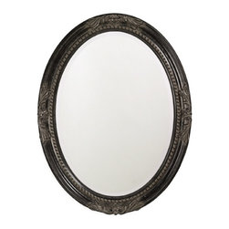 "Howard Elliott - Queen Ann Oval Mirror with Antique Black Finish - This oval, wooden mirror features a traditional, vintage design at each pole and is finished with antique black leaf.  Frame Dimensions: 25"" X 33"" X 1""; Mirror Dimensions: 19"" X 27""; Finish: Antique Black; Material: Wood; Beveled: Yes; Shape: Oval; Weight: 23 lbs; Included: Brackets, Ready to Hang."