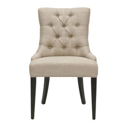 Safavieh - Safavieh MCR4515D Amanda Chair - A buttoned-up elegance infuses the beige linen upholstered Amanda Chair, with a dark mahogany finish on the legs. A high back, curved rear legs and modest sloped arms produce a sophisticated profile at home in formal settings.