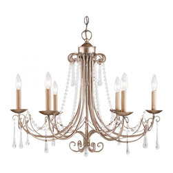 6 Light Up Chandelier- Antique Silver - A Refined Presentation And The Antique Silver (As) Finish Has An Air Of Formality.