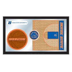 "Holland Bar Stool - Holland Bar Stool Boise State Basketball Mirror - Boise State Basketball Mirror belongs to College Collection by Holland Bar Stool The perfect way to show your school pride, our basketball Mirror displays your school's symbols with a style that fits any setting.  With it's simple but elegant design, colors burst through the 1/8"" thick glass and are highlighted by the mirrored accents.  Framed with a black, 1 1/4 wrapped wood frame with saw tooth hangers, this 15""(H) x 26""(W) mirror is ideal for your office, garage, or any room of the house.  Whether purchasing as a gift for a recent grad, sports superfan, or for yourself, you can take satisfaction knowing you're buying a mirror that is proudly Made in the USA by Holland Bar Stool Company, Holland, MI.   Mirror (1)"