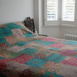 Kantha Quilt - Turquoise/Multi -