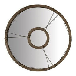 "Lazy Susan - Equation Wire Mirror by Lazy Susan - The round wood framing of the Equation Wire Mirror has regularly spaced knob patterns as well as the inner wood circle. Wires are strung and looped around the knobs adding a rustic design element, This is a fantastic mirror in a rustic setting or in a boy's bedroom. Generously sized at 40"" in diameter, this would be awesome over a sofa flanked by rustic candle sconces. (LS) 40""d x 1.5""w"