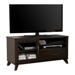 South Shore - South Shore Caraco TV Stand in Mocha - South Shore - TV Stands - 4079676 - This TV stand from the Caraco collection with its timeless elegance also features wooden legs and nicely worked edges that will enhance the rooms d��cor. The look of this piece - a blend of the modern and the Traditional - gives it a refined classical
