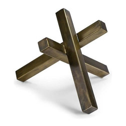 Regina Andrew - Intersecting Sculpture, Brass - This brass sculpture is both geometric and modern. The crisp lines and contemporary finish add the perfect element of style to any table top or shelf.
