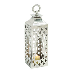Benzara - Moroccan Hanging Lantern Candle Holder Home Patio Garden Decor 27471 - Moroccan inspired hanging aluminum lantern candle holder with shrine style cut out designs home patio garden decor