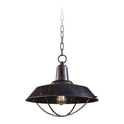 """Uttermost - Industrial Carolyn Kinder Arcada One-Light Pendant - Add handsome detail to your kitchen space with this pendant by designer Carolyn Kinder. The shade comes in an oxidized bronze finish. An antique style filament bulb is included. 14"""" high 19"""" wide. Weighs 9 pounds. Variable hang height with chain.  Oxidized bronze finish.  Open look design.  By designer Carolyn Kinder.  For Uttermost Lighting.  Antique style filament bulb is included.   14"""" high.  19"""" wide.   Weighs 9 pounds.   Variable hang height with chain."""