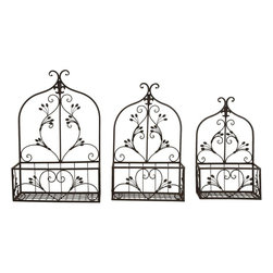 Benzara - Metal Wall Planter Arches Floral - Set of 3 - If you are looking for low cost but rare to find elsewhere utility- decor item to bring extra galore that could refresh the decor appeal of short spaces in garden or porch, beautifully carved 66518 METAL WALL PLANTER S/3 a set of three may be a good choice.; Material: Rust free premium grade metal alloy; Color: Black; Set of three planters; Impressive gift; Unique garden decor with flexibility and portability; Dimensions: 24, 22,18