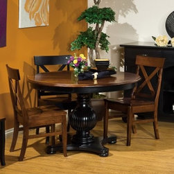Richmond Amish 5 Piece Dining Table Set - A combination of contemporary chic and timeless sophistication the Richmond Amish 5 pc. Dining Table Set makes a charming addition to any home. Not only does this set which includes a dining table and four dining chairs add upscale elegance to even the most casual of meals it makes an impression in any setting.Crafted from responsibly harvested brown maple hardwood this sturdy dining set sports a beautiful multi-step cherry-black finish that adds warmth to any setting. Boasting clean lines a stylish reeded base and superior Amish woodworking. The chairs will envelop you in comfort thanks to the generous seat and supportive X-back design. Even if you have last-minute guests you can easily accommodate them with two 12-inch leaves that let you extend the round table from 48 to 72 inches. Designed to stand the test of time this dining set is sure to make its presence felt in any company.Additional Features:Dining table dimensions: 48-72L x 48W x 30H inchesDining chair dimensions (each chair): 18W x 17D x 35H inchesContemporary design with ogee table edge reeded base and X-shaped chair backComfortably seats 4 peopleMade in AmericaCare and Maintenance:Because most hardwoods are open grained solid wood furniture can be affected by changes in humidity and temperature even after protective finishes have been applied. Care in controlling the furniture's environment will help minimize the minor cracking and warping that is a natural part of the wood's character.Indoor humidity should be kept in the 35 to 40 percent range to minimize these effects. If the humidity moves out of the ideal range solid wood tabletops can expand or contract causing a gap in the center or at the ends where the two halves meet. This is perfectly normal as moisture is absorbed through end grains of wood causing more movement on the ends of the table than in the center. Through change of seasons these changes will occur according to humidity levels. Additionally
