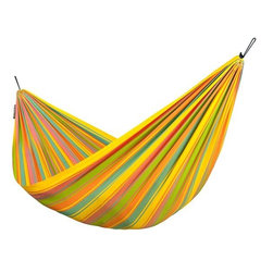 Home Decorators Collection - Papagayo Fruity Children's Hammock - The fun colors and smaller size of our Papagayo Fruity Children's Hammock make it perfect for your child's lazy summer dreams. Soft swinging stimulates the sense of balance, playfully promoting your child's development. Sized for children. Weather-resistant. Can be hung using our Hammock Hardware Kit, sold separately. Due to the smaller size of this hammock, it is not recommended for use with the Scandinavian Spruce Hammock Stand.