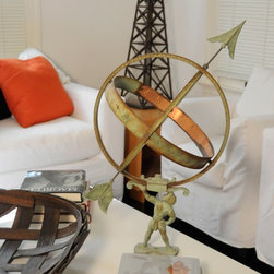 Hollywood Sign Estate Sale - Antique Brass Armillary. Photo by Melissa Arnold.