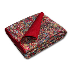 None - Persian Quilted Cotton Throw - Tropical fern branches and lotus blossoms are arranged in a graceful pattern to form this adventurous Persian cotton throw. Reversing to a vibrant Rococo red,this striking throw is crafted with pure cotton for comfort and durability.