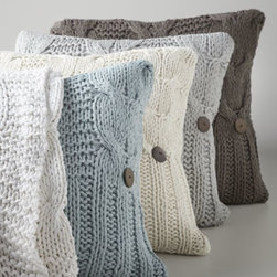 """Amity Home - Amity Home Cable-Knit Pillow, 20""""Sq. - Like sleeping in a soft, cozy cloud, """"Micah"""" bed linens are made of a lightweight cotton knit that works year-round. Cable-knit pillow has a feather/down insert and button detail. """"Basillo"""" cotton European shams and 18""""Sq. ruffled linen pillow come...."""