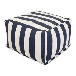 Majestic Home - Outdoor Navy Blue Vertical Stripe Large Ottoman - Add a little character to your living room or patio with the Majestic Home Goods Large Ottoman. This Ottoman is the perfect accessory to add comfort and style to any room while functioning as a decorative foot stool, pouf, or coffee table. Woven from outdoor treated polyester, these ottomans have up to 1000 hours of U.V. protection and are able to withstand all of natures elements. The beanbag inserts are eco-friendly by using up to 50% recycled polystyrene beads, and the removable zippered slipcovers are conveniently machine-washable.