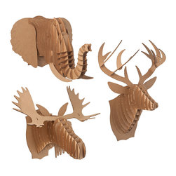 Cardboard Animal Heads - Love the look of antlers above a mantle, but love animals too much to give into the trend? Thank Bambi that eco-friendly and animal loving materials have made their way into the world of home decor. There's something so silly about these cardboard animal heads — but their simple yet smart construction lends a sophisticated air to them as well.