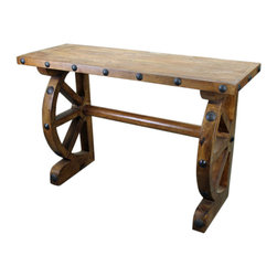 Old World Console Table with Half Wagon Wheels - This Old World Console Table with Iron Accents and Half Wagon Wheel legs is constructed of solid wood from Mexico. No veneers are used, only solid planks of wood with a polyurethane type finish topped with a soft hand-rubbed wax. This finish makes this piece a perfect accent to any Spanish Colonial, Hacienda Style or Tuscan decor.  Notice the hand forged iron accents. Beautiful! Perfect as an Old World TV Stand as well. Please note that long wait times could be possible if this item is not in stock at the time of order.