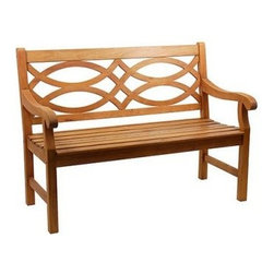 Hennell Garden Bench - Enjoy the comforts of your beautiful garden with the Hennell Garden Bench. This outdoor bench is made from sustainable eucalyptus wood. It features an attractive spectacular fretwork design that adds to its attractiveness. The garden bench is accented with a light, natural finish with an oil-based stain that enhances its visual appeal. Stylish and functional, this bench is suitable for both indoor and outdoor use. Place this bench in the garden for a relaxed time.About ACHLA DesignsThis item is created by ACHLA Designs. ACHLA is a garden accessories company that emphasizes unique wood and hand-forged, wrought iron European furnishings for the home and garden. ACHLA Designs continues to add beautiful and unique items year after year, resulting in an unusually large product line. All ACHLA products are stocked in the company's warehouse for year-round, prompt shipping. ACHLA Designs takes great pride in offering exceptional products and customer service.