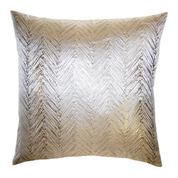 Square Feathers - Brillante Chevron Throw Pillow - Exquisitely textured, the contemporary Brilliante throw pillow dazzles with a chevron pattern. The handmade accent's metallic gold and silver palette lends glam sophistication. Available in several sizes; Silk and polyester; Silver velvet reverse; Zipper closure; Includes 90/10 feather down insert; Dry clean only; Made in the USA