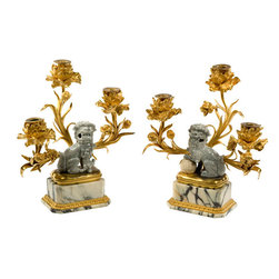 Antique French Foo Dog Candelabra - This antique French foo dog candelabra is a bit of a mixed metaphor.