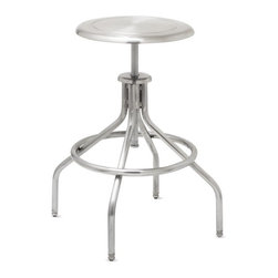 Adjustable Stainless Steel Stool - Use this manly stool at a wet bar or kitchen bar.