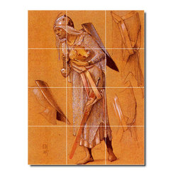 Picture-Tiles, LLC - Coley King Gaspar Tile Mural By Edward Burne-Jones - * MURAL SIZE: 32x24 inch tile mural using (12) 8x8 ceramic tiles-satin finish.