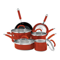 Rachael Ray - Rachael Ray Colored Stainless Steel 10 pc. Cookware Set - Red - 77559 - Shop for Cookware Sets from Hayneedle.com! Spice up your kitchen with the Rachael Ray Colored Stainless Steel 10 pc. Cookware Set Red a complete package of essential pans. As a dishwasher safe set this cookware trumps many others for convenient cleaning. The stainless interiors are safe with metal utensils while skillets feature helpful nonstick coatings. Set Includes: 1.5-qt. covered saucepan 3-qt. covered saucepan 6-qt. covered stockpot 3-qt. covered saute pan 8-inch skillet 10-inch skillet About CirculonCirculon's gourmet nonstick cookware is engineered to make home cooking fast easy healthy and delicious. In 1985 Circulon revolutionized the industry by introducing the first hard-anodized nonstick cookware. Their patented TOTAL Food Release System creates Circulon's signature circular groove pattern on the cooking surface which reduces the amount of nonstick that comes into contact with cooking utensils for reduced abrasion and superior durability. Combined with the most advanced nonstick coating from DuPont this innovative technology is also dishwasher-safe and induction-suitable. New cooks and seasoned chefs alike will be satisfied with Circulon cookware for a lifetime - guaranteed.