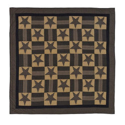 VHC Brands / Ashton & Willow - Teton Star Quilt, King - The Teton Star Collection is a navy and khaki story in a stars and bars patchwork quilting pattern. The Ashton & Willow quilt has 100% cotton shell and is hand quilted with stitch in the ditch and echo quilting.