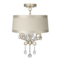 "Lamps Plus - Traditional Conti 16"" Wide Ceiling Light with Off-White Drum Shade - This semi-flushmount ceiling light comes in a beautiful champagne gold finish. The design offers the classic look of a chandelier and is updated with a stylish designer off-white drum shade with gosgrain ribbon trim. A wonderfully refreshing designer look for your living space.  Champagne gold finish. Off-white drum shade with gosgrain ribbon trim. Semi-flushmount ceiling light. Takes three 60 watt candelabra bulbs (not included). 23 1/2"" high. Chandelier only is 18"" high 12"" wide. Shade is 15"" across the top 16"" across the bottom 7"" high. Canopy is 5 1/2"" wide. Some assembly required; instructions included.  Champagne gold finish.  Off-white drum shade with gosgrain ribbon trim.  Semi-flushmount ceiling light.  Takes three 60 watt candelabra bulbs (not included).  23 1/2"" high.  Fixture only is 18"" high 12"" wide.  Shade is 15"" across the top 16"" across the bottom 7"" high.  Canopy is 5 1/2"" wide.  Some assembly required; instructions included."