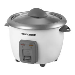 Applica - Black and Decker 6-Cup Rice Cooker - Rice scoop, measuring cup and dishwasher safe removable bowl. Non stick pot. Auto switch cook warm. Tempered glass lid. Steam vent. Warranty: One yearThe fast, simple way to cook rice and its ready when you are! Make firm or fluffy rice without having to watch the pot. This rice cooker automatically keeps rice or vegetables warm until youre ready to eat. With the removable cooking bowl, its easy to serve right at the dining room table.