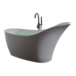 ADM - ADM Solid Surface Stone Resin Stand Alone Bathtub, White, Matte - SW-137