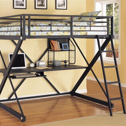 Powell Furniture - Z-Bedroom Full Size Loft Bunk Bed w Study Des - The Hills of Provence pub table and bar chairs have all the dramatic flair of antiques but are still great value!  The furniture is dark stained to give the impression of ebonized wood and is tastefully upholstered for an overall effect of restrained elegance.  This set and its matching pieces could bring a quiet sophistication to your bar or restaurant.  Invite your friends over, uncork that immortalized bottle of Château Suduiraut 1988, unveil the chocolate passion fruit cheesecake with lime anglaise and explore the sheer decadence of your Hills Of Provence Antique Black over Terra Cotta Pub Table w/ 4 Chairs superbly crafted to immortalize extraordinary moments.  This fun pub table is absolutely stunning and will look great in your kitchen nook or even in your dining room. * This versatile loft bunk includes a full size upper bunk and a study desk unit underneath. The desk work surface is set up to handle computers or video games, the pull out keyboard tray will fit today's keyboard technology. Suspended storage shelf complete the features. Brushed chrome trim and machined aluminum decorative caps, and black hi-pressure laminated work surface. Made of heavy gauge powder coated tubular steel end frames in the unique Z-bedroom shape. Minimal assembly required. With Ladder: 80.50 in. L x 74.50 in. W x 72.50 in. H. Without Ladder: 80.50 in. L x 56.50 in. W x 72.50 in. H