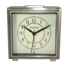 TIMEWISE CLOCKS - Monarch Alarm Clock Bushed Nickel - This elegant alarm clock features: