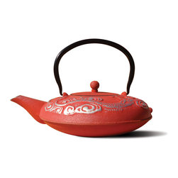 "Red/Silver Cast Iron ""Nara"" Teapot, 40 Oz. - Unity® Cast Iron ""Nara"" Teapot -Red and silver Finish. Graceful, elegant cast iron Tetsubin teapot decorated with a traditional dragon motif.  Inspired by highly prized antique Japanese cast iron teapots still in use today. Features a black porcelain enamel interior coating that helps prevent rust Includes a stainless steel tea brewing basket for ease of preparation.  For brewing and serving tea; Not intended for stovetop use. 40 oz. capacity. Hand wash."