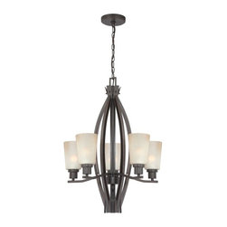 Lite Source - Scandia Chandelier Lamp - Color/Finish: Dark Bronze, Light Amber Glass. Accommodates (5) 60 watt Regular Incandescent Bulb(s)  (lamp can take a CFL as well). 20.25 in. L x 20.25 in. W x 29.25 in. H (20.6 lbs). Shade: 6 in. H