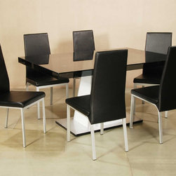 Elite Rectangular Wooden and Glass Top Leather Modern Table with Chairs - Rectangular grey-tinted glass top table with four black chairs. The base is white with brushed aluminum plate. Optional side chairs are available at discounted price.