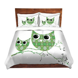 DiaNoche Designs - Duvet Cover Microfiber by Susie Kunzelman - Owl Argyle Green - Super lightweight and extremely soft Premium Microfiber Duvet Cover in sizes Twin, Queen, King.  This duvet is designed to wash upon arrival for maximum softness.   Each duvet starts by looming the fabric and cutting to the size ordered.  The Image is printed and your Duvet Cover is meticulously sewn together with ties in each corner and a hidden zip closure.  All in the USA!!  Poly top with a Cotton Poly underside.  Dye Sublimation printing permanently adheres the ink to the material for long life and durability. Printed top, cream colored bottom, Machine Washable, Product may vary slightly from image.