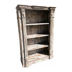 Carved Wood Bookcase - Solid wood, and hand carved.  Lots of details make this a special bookcase that would bring character to any room  The patina is a mixture of gray, cream and natural wood grain.