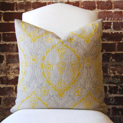 Yellow and Grey Hand Print - I love the subtle pops of yellow on this handmade linen pillow cover.