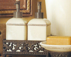 The GG Collection Bathroom Set (2 Piece) - Complete your French Country or Old World decorating theme with this wonderfully unique 2-piece bathroom set from the GG Collection. Ceramic pieces are dishwasher safe. Beautiful, Italian-inspired, ceramic serving pieces with burnished metal accents by the GG Collection. This exceptional line of goods, for gracious entertaining, brings Old World elegance and style to your home.