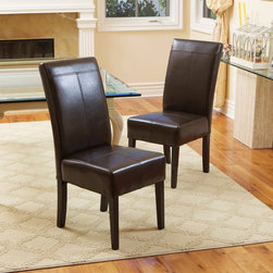 Christopher Knight Home - Christopher Knight Home T-stitch Chocolate Brown Leather Dining Chairs (Set of 2 - Sleek and stylish,these sumptuous brown leather dining chairs feature thick padded seats for lasting comfort.  With espresso-stained hardwood legs and clean lines,these chairs give your dining room a quick style update you'll appreciate.