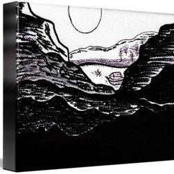 Zen Sumi Midnight Mountain Lake Black Ink on White -