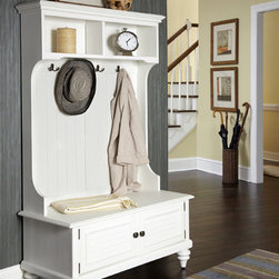 None - Bermuda Hall Stand - Add a stylish touch to your home decor with this hall stand. A textured white finish,spacious drawers and decorative coat hooks finish this stand.