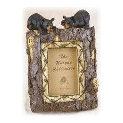 """PS - 11 Inch Tree Trunk Design with 2 Black Bears 4 x 6"""" Photo Frame - This gorgeous 11 Inch Tree Trunk Design with 2 Black Bears 4 x 6"""" Photo Frame has the finest details and highest quality you will find anywhere! 11 Inch Tree Trunk Design with 2 Black Bears 4 x 6"""" Photo Frame is truly remarkable."""