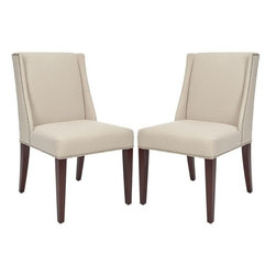 Safavieh - Safavieh MCR4535A-SET2 Lauren Side Chair - The Lauren chair is smart sophistication with its clean lines, minimal sloped arms wrapped in pure linen fabric, shown in beige, and straight legs finished in espresso.
