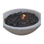 """Pad Outdoor - Potted Wok Fire Pit, 33"""" Wok Fire Pit - Nothing brings a crowd together like a fire and our Wok Fire Pit does it with a clean, modern edge.  Made in the USA of reinforced concrete in a natural cement finish. Burn wood or plumb to use with natural gas."""