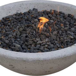 "Pad Outdoor - Potted Wok Fire Pit, 33"" Wok Fire Pit - Nothing brings a crowd together like a fire and our Wok Fire Pit does it with a clean, modern edge.  Made in the USA of reinforced concrete in a natural cement finish. Burn wood or plumb to use with natural gas."