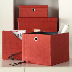 Home Office Storage - Style, meet substance. Heavy-duty storage pieces bring color and texture to the desk.