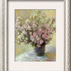 Artcom - Vase of Flowers by Claude Monet - Vase of Flowers by Claude Monet is a Framed Art Print set with a PARMA Champagne wood frame and a Polar White mat.
