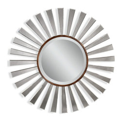 """Bassett Mirror - Bassett Mirror Florenza Wall Mirror - Dazzling beams of gleaming glass are sure to give the term """"sunburst mirror"""" new meaning when they catch the light. A bronze inner circle adds just the right amount of color, making this the perfect contemporary piece for your home."""